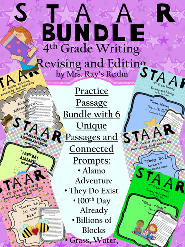 STAAR 6-Passage Revising and Editing Bundle with Prompts