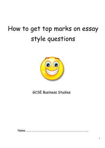 Business Studies  - EDEXCEL Unit 3 Essay Style question booklet