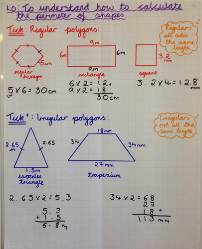 Maths- Yr 5/6- Measures- Calculating PERIMETER, inc of compound shapes and missing sides