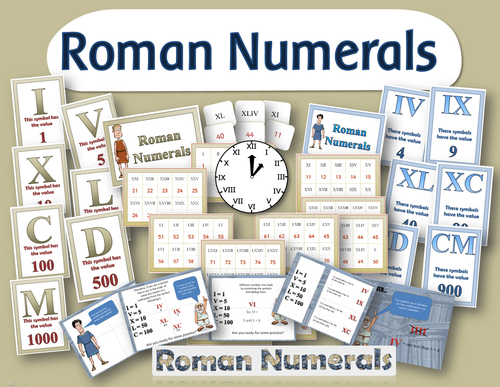 Roman numerals KS2 maths resources: powerpoints display posters clock and cards