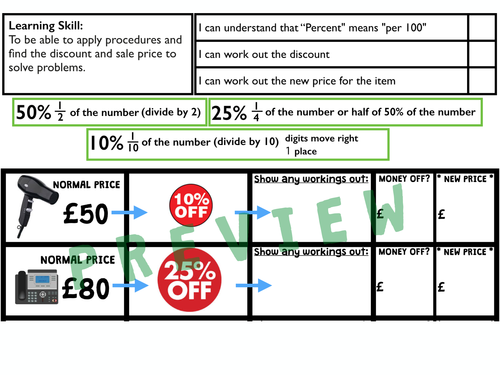 KS2 MONEY SALES PERCENTAGE DISCOUNT PROBLEM SOLVING by – Percent Discount Worksheet