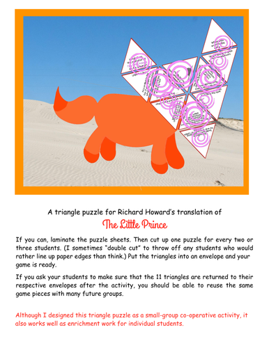 A triangle puzzle for Richard Howard's English translation of The Little Prince