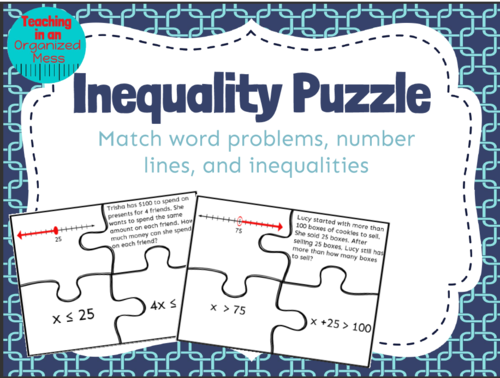 Solving One Step Inequalities Word Problem Puzzle