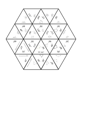 Drawing Parallel Lines With Triangles : Angles tarsia solution on parallel lines