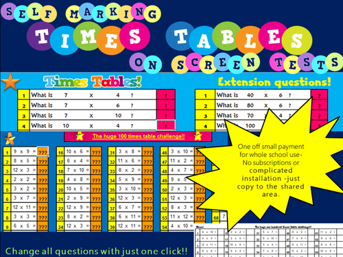 Times Tables Tests Year 4 (Practice tests, On-screen, Self Marking) Plus  Printable Test Generator