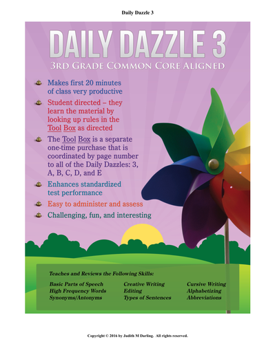 DAILY DAZZLE 3 BOOK (3rd grd) 1 YEAR BELL RINGER FOR LANGUAGE ARTS-CC Aligned