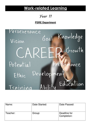 KS4 Work related Learning Workbook Careers Employment