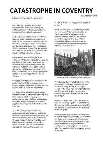 The blitz newspaper report example by burton89 teaching.