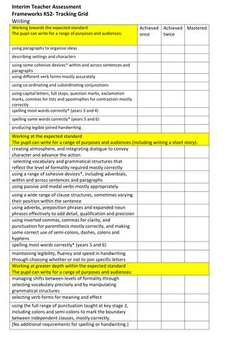Interim Teacher Assessment Frameworks KS2- Tracking Grids (Reading and Writing)