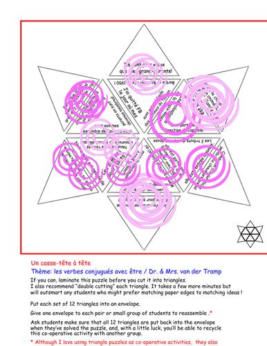 Triangle puzzle: Les verbes conjugués avec être ( ou les verbes DR. & MRS. VAN DER TRAMP)