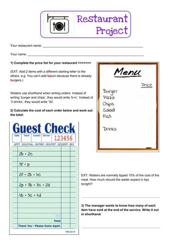 Algebra Restaurant Project