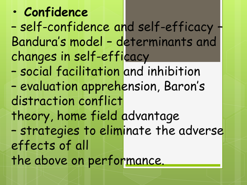Self Confidence and Self Efficacy - A Level PE, Psychology AQA Spec