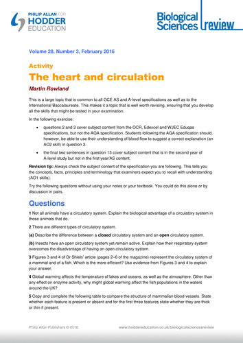 a level biology heart and circulation worksheet by hodder education teaching resources tes. Black Bedroom Furniture Sets. Home Design Ideas
