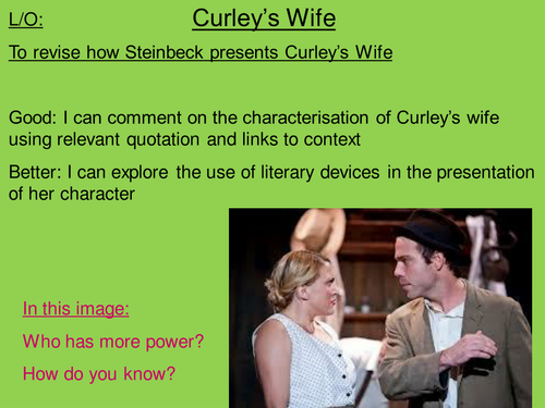 how does steinbeck present the character of curleys wife essay