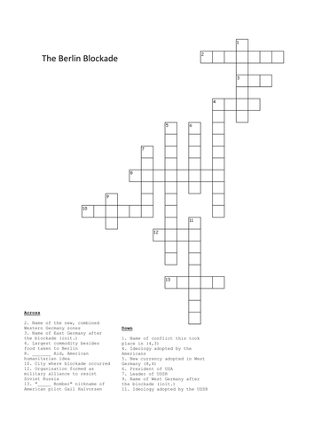 Berlin Blockade and Airlift Crossword by Mr_Leonard
