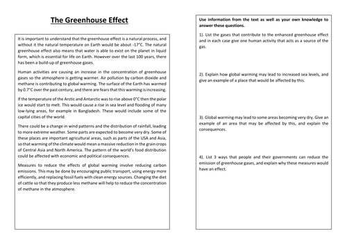 Populations Acid Rain and the Greenhouse Effect by Ayalalucy – Greenhouse Effect Worksheet