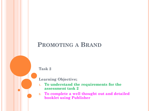 Btec Business Level 2 – NCF – Unit 3 – Promoting a Brand - Assessment 2
