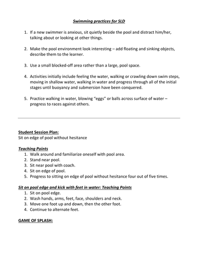 SEN Swimming lesson plans, and other resources