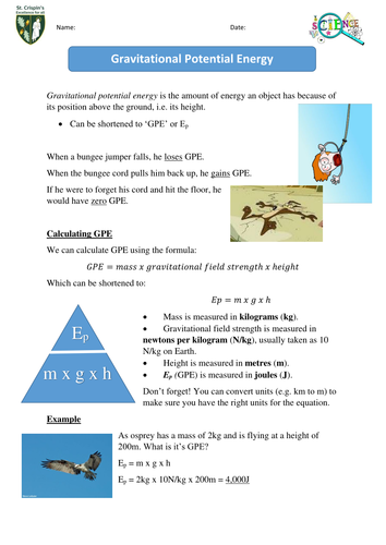 Gravitational potential energy by sjah2001 - Teaching Resources - Tes
