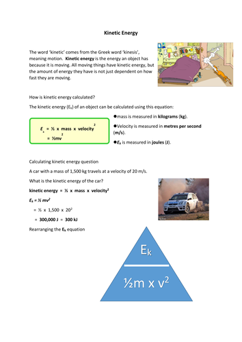 Kinetic energy worksheet by sjah2001 - Teaching Resources - Tes