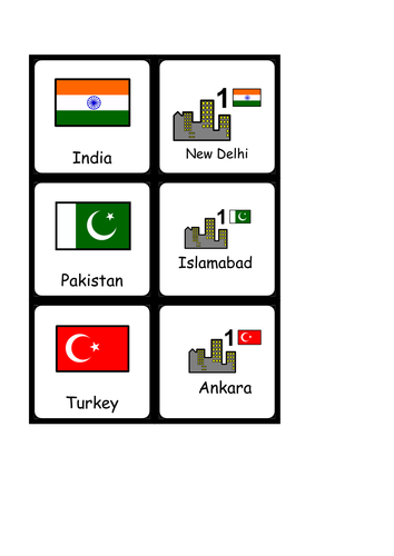 Asia capital cities and countries matching game (Widgit)