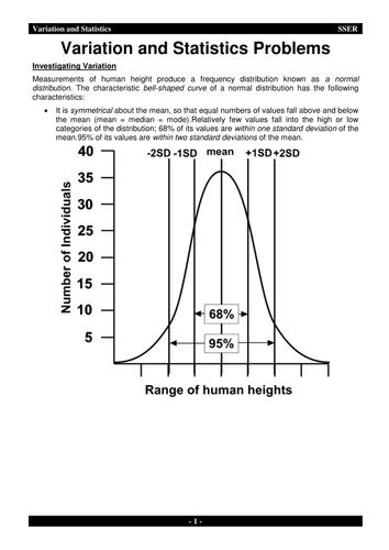 3.4.7.1 Statistics - Investigating Variation 1 & 2 - Workbook & Answers