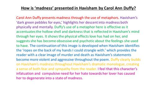 Havisham by Carol Ann Duffy PEE help