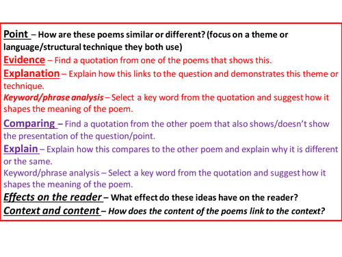 Gcse Comparing Poetry Paragraph Structure By Jesspon  Teaching  Gcse Comparing Poetry Paragraph Structure By Jesspon  Teaching Resources   Tes