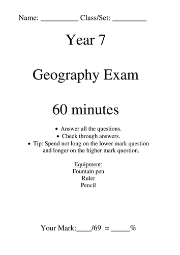Year 7 Exam by steviebayes | Teaching Resources
