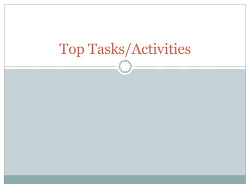 Top Tasks & Activities