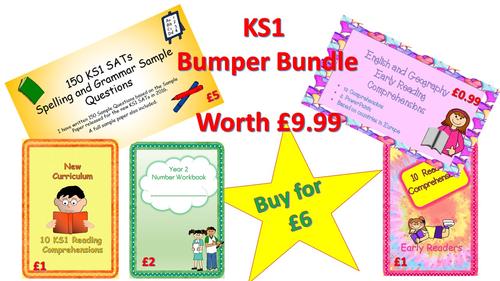 KS1 Bumper Bundle (SATS grammar questions, sample paper, number workbook and reading comprehensions)