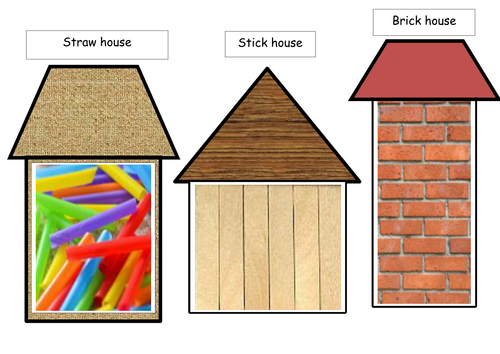 Collage template for the three little pig,s houses. by ...