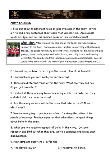Careers Research Tasks  - Army and Police Force