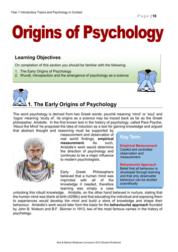 AQA New Specification Year 1 - 3.0 Origins of Psychology