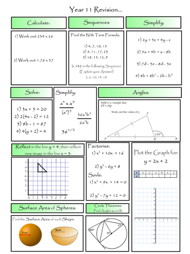 selection of maths revision learning mats covering lower. Black Bedroom Furniture Sets. Home Design Ideas