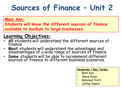 Sources of Finance for Large Businesses / Companies