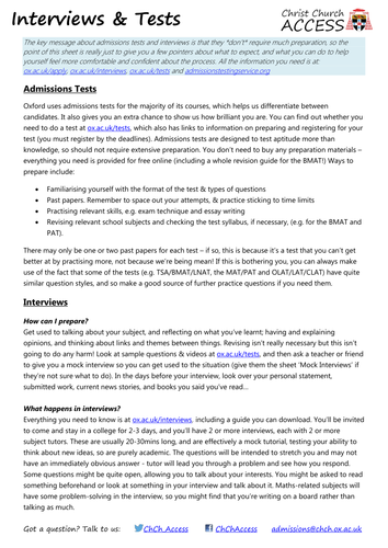 Oxford interviews and admissions tests
