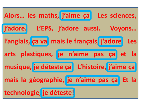 School subjects & opinions in French