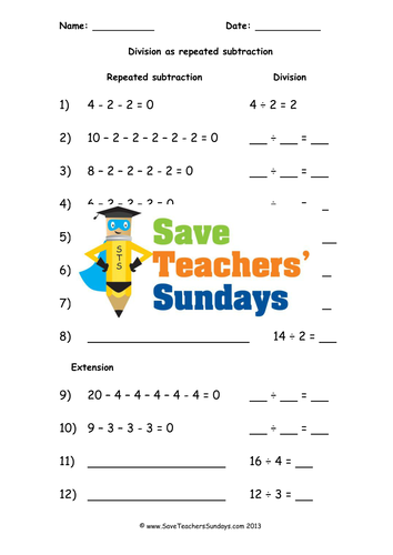 Repeated Subtraction KS1 Worksheets, Lesson Plans and Plenary by ...