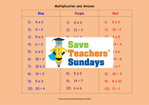 multiplication and division ks1 worksheets lesson plans and plenary by saveteacherssundays. Black Bedroom Furniture Sets. Home Design Ideas