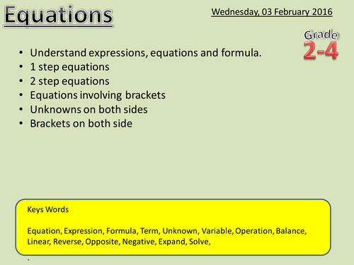 Equations - Maths Powerpoint (With new Grading system 1-9)