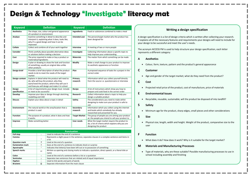 D&T Literacy mats - Investigate, design, make and evaluate