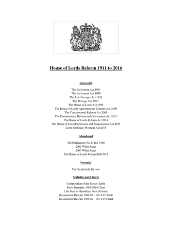 House of Lords Reform 1911-2016