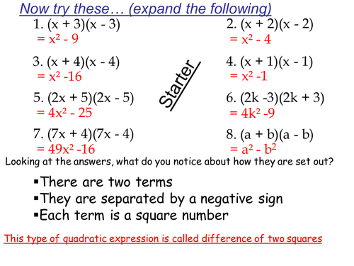 DIFFERENCE OF TWO SQUARES   Teaching Resources