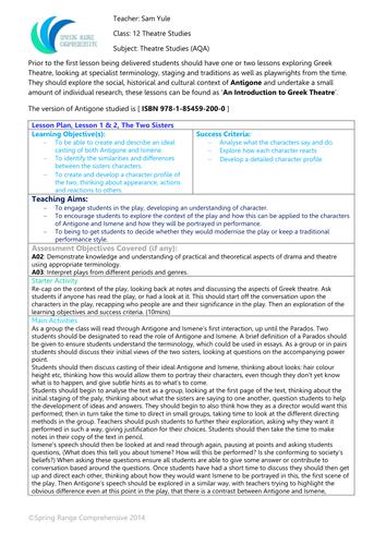 A-Level Theatre Studies - Antigone Resource Pack