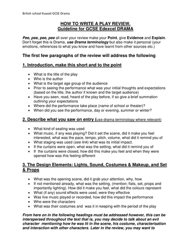 English Class Essay Gcse Drama Edexcel Unit  How To Write A Play Review By Yvonnedrummond   Teaching Resources  Tes College Vs High School Essay Compare And Contrast also Persuasive Essay Topics For High School Students Gcse Drama Edexcel Unit  How To Write A Play Review By  Essays For Kids In English