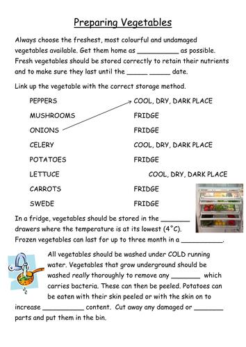 Food and cooking KS3 or KS4 - Preparing Vegetables info and tasks