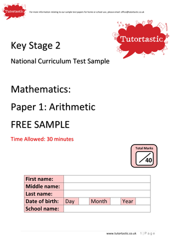 KS2 SATs 2016: Arithmetic Paper 1: FREE SAMPLE (with answers)