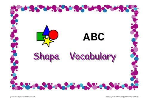 'Shape' Vocabulary Flashcards Symbol Supported