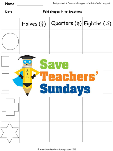 Equal Parts Fractions Worksheets, Lesson Plans and Other Teaching Resources